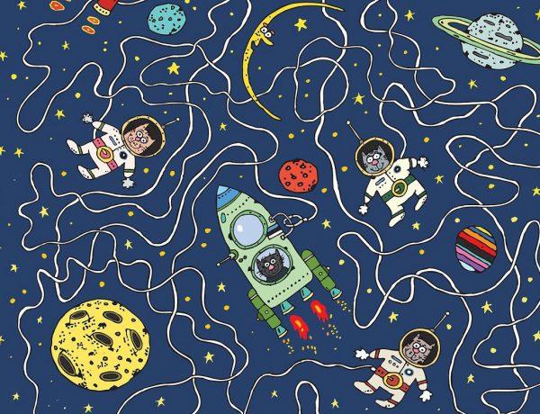 Cartoon mit Katzen, Astronauten und Planeten