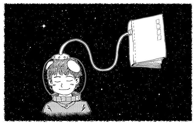 Zeichnung Raumfahrerin und daran hängt mit Schlauch ein Buch