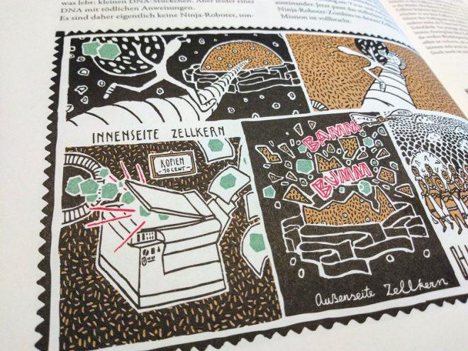 Leseprobe zeigt Zeichnungen von Floor Rieder