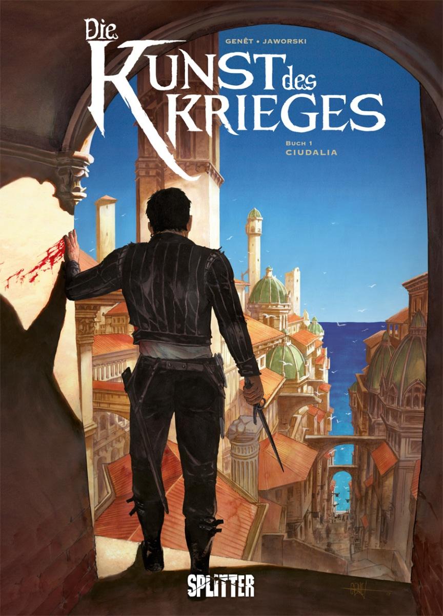 Cover zeigt den Protagonisten von hinten mit einem Degen in der Hand hinunterblickend auf die Stadt und das Meer