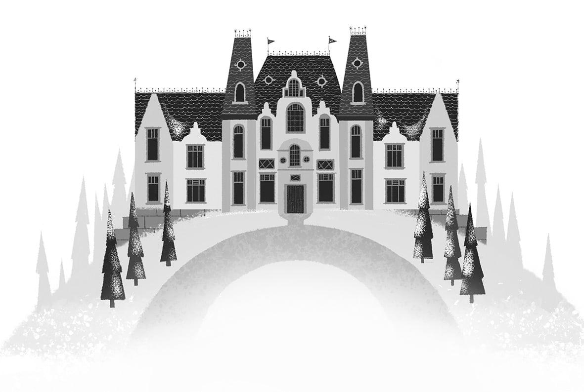 Illustration, die das Hotel zeigt