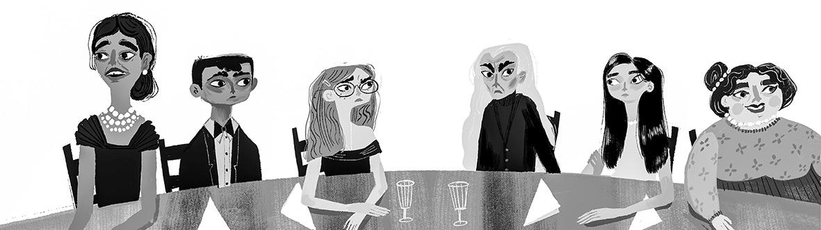 Illustration, die 6 Personen an einem Tisch zeigt