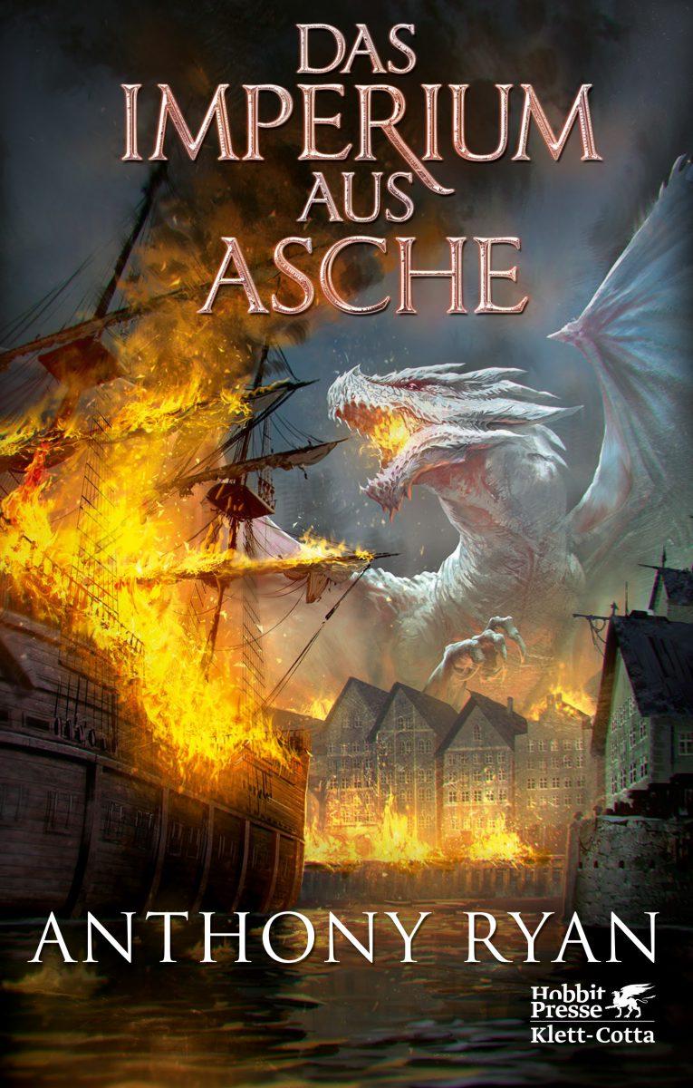 Cover des Romans Das Imperium aus Asche Zeigt einen auf Schiffe Feuer speienden Drachen auf dunklem Hintergrund
