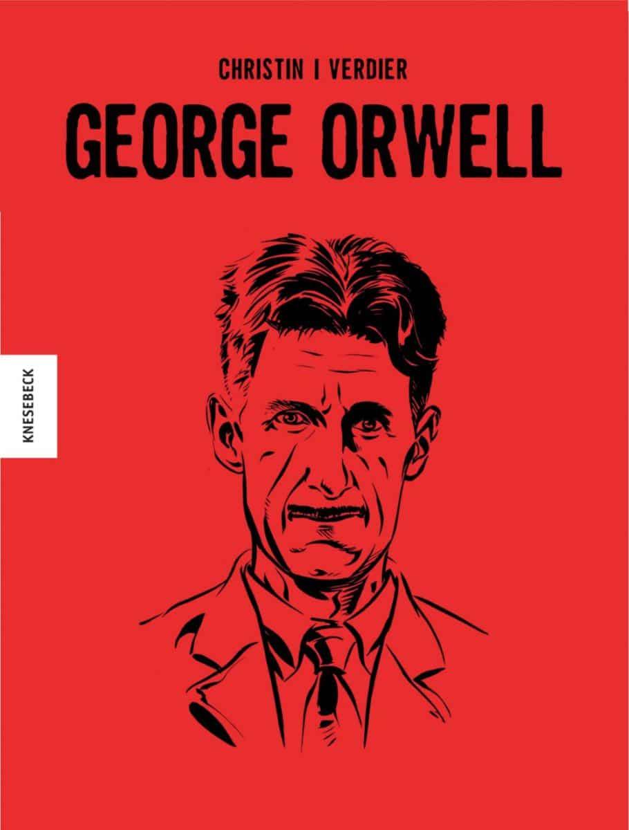 Cover des Comics ganz in rot und mit einem Portrait Orwells in schwarzen Linien