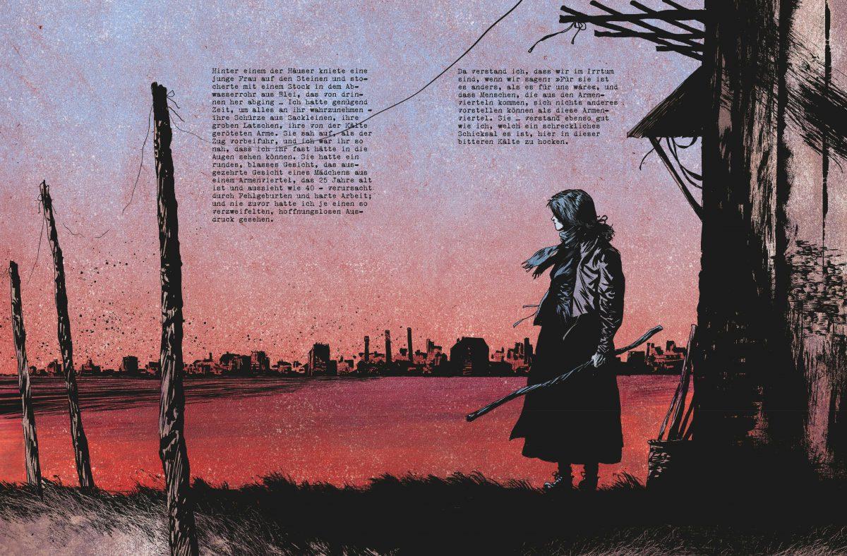 Doppelseitige farbige Illustration mit Text. Eine Frau, die vor der Kulisse einer Stadt steht, es dämmert.