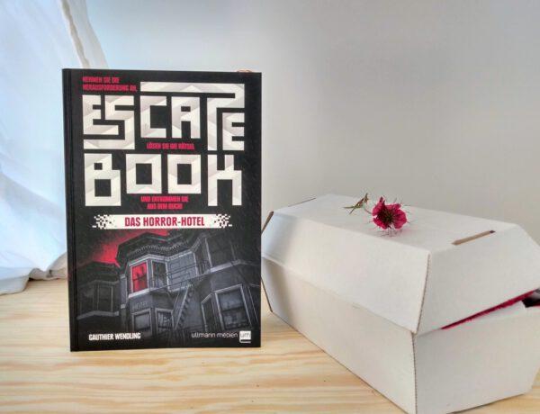 Schwarzes Buch steht neben einem kleinen Pappsarg mit einer roten Blume darauf