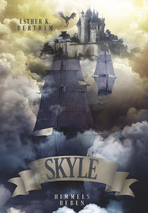 Buchcover zeigt Schiffe in den Wolken, dahinter eine Burg und darüber schwebt ein Drache