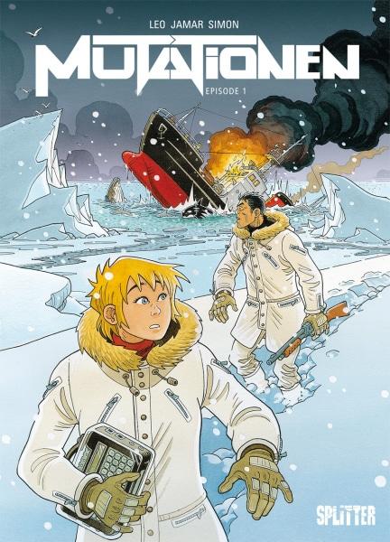 Cover zeigt Frau und Mann in Eislandschaft im Hintergrund ein sinkendes Schiff