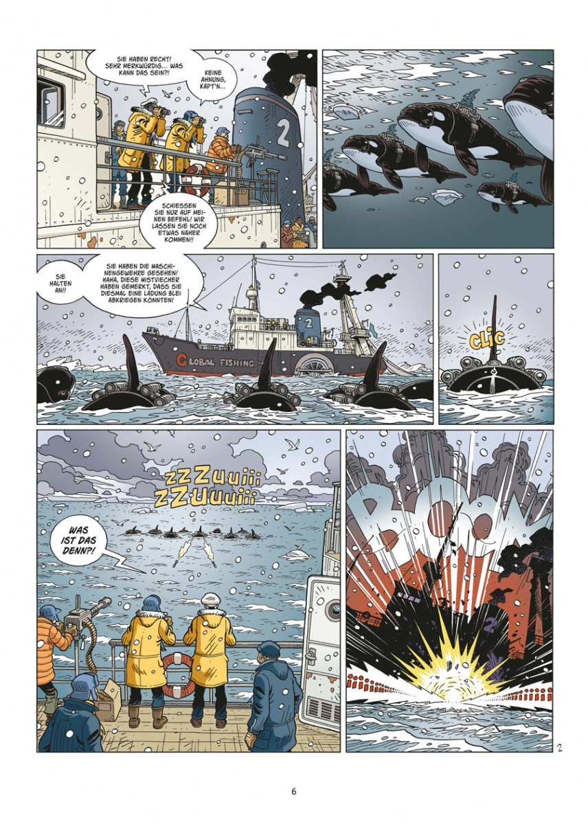 Leseprobe aus dem Comic auf dem die Orcas und ihr Angriff zu sehen sind