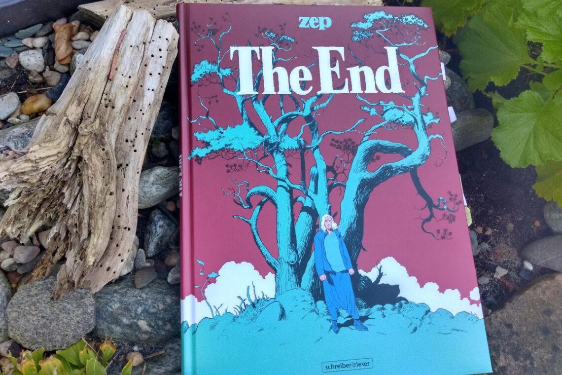 Comic auf dem ein Mann vor Bäumen dargestellt ist liegt neben einem alten Ast