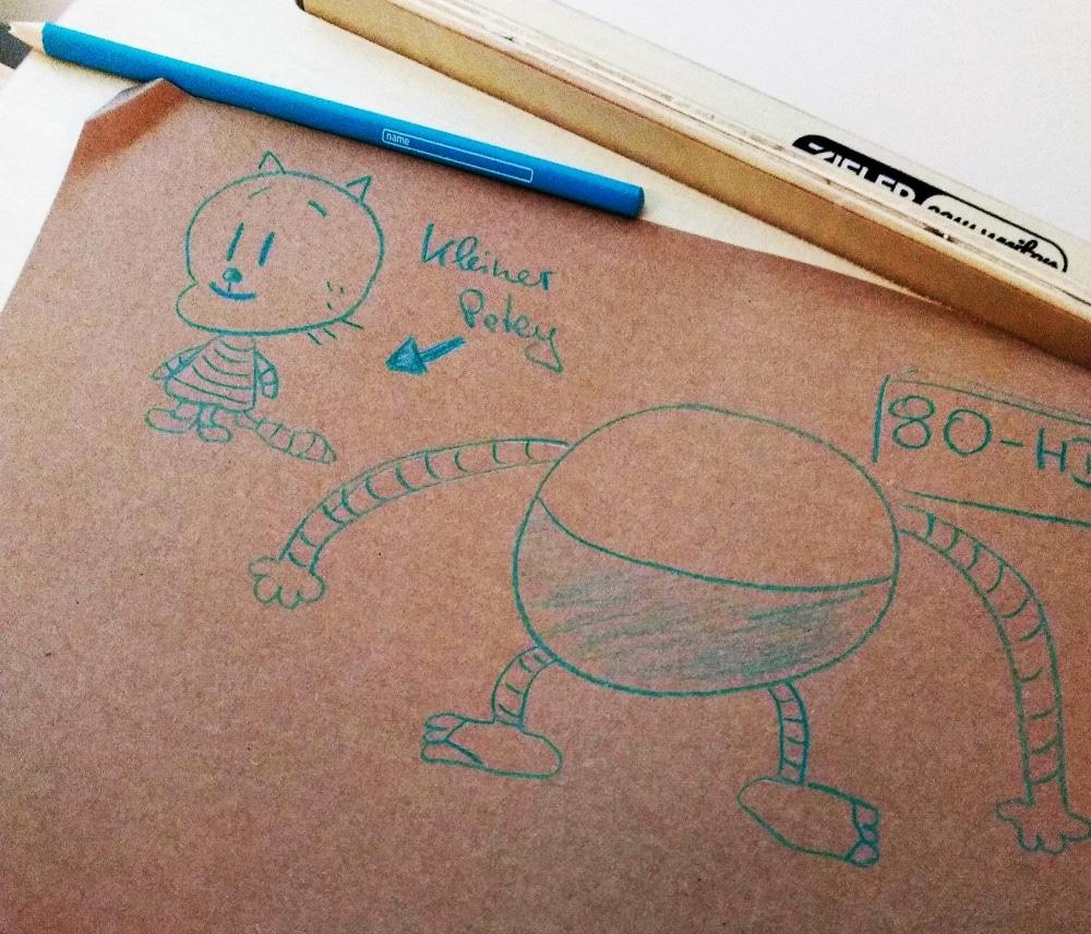 Zeichnung von Dog Man in türkis auf braunem Papier