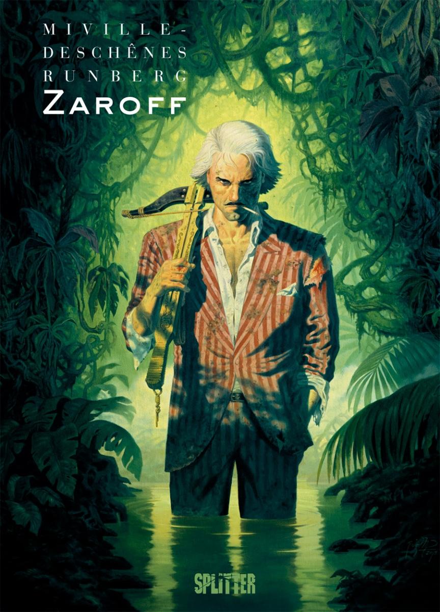 Cover zeigt einen Mann im Anzug mit einer Armbrust über der Schulter im Hintergrund Dschungel