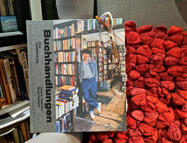Buch steht auf einem Lesesessel vor Bücherregal