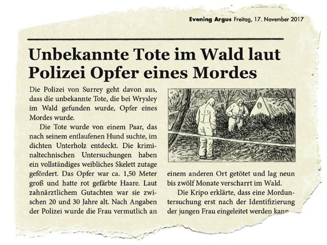 Leseprobe zeigt einen Zeitungsausschnitt über den Fund einer unbekannten Toten in einem Wald