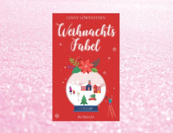 Rotes Buchcover auf hellrosa Schneehintergrund