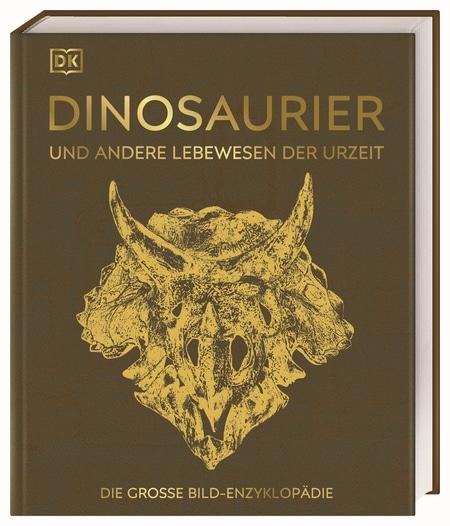 Cover in braun mit goldfarbenem Schädel eines Triceratops