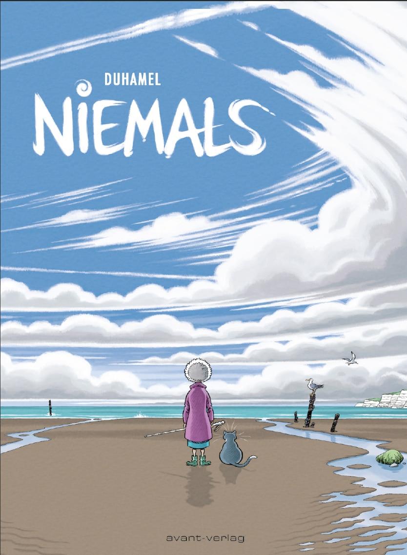Cover zeigt Madeleine und ihre Katze von hinten vor dem Meer stehend