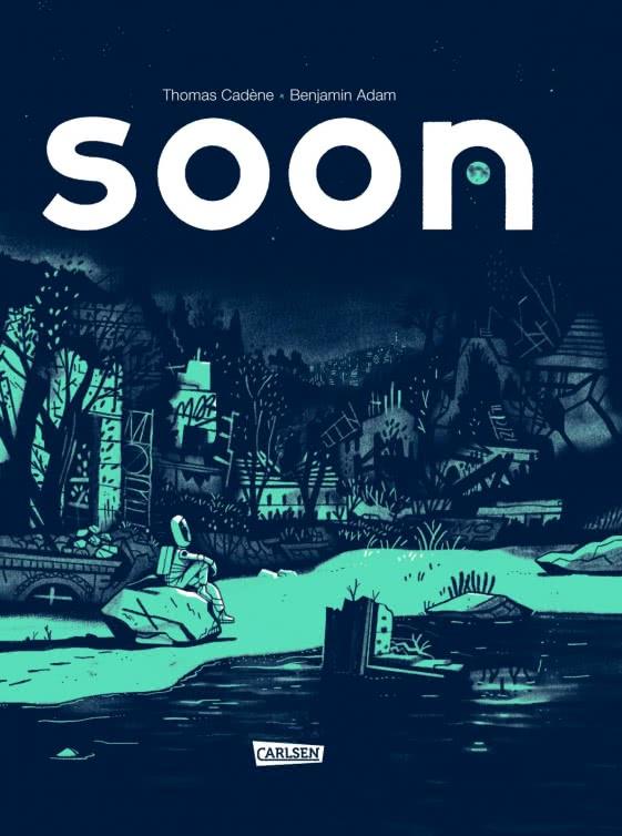 Cover des Comics mit einem einsamen Astronauten sitzend auf einem Stein